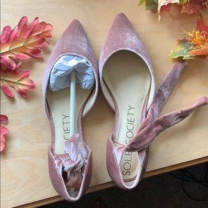 Rose/blush velvet flats